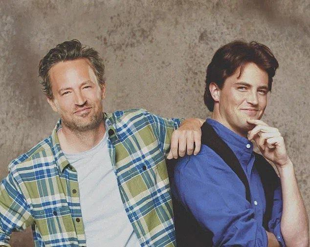 Matthew Perry posing alongside sarcastic Chandler Bing
