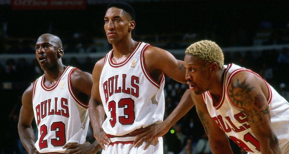 Michael Jordan, Scottie Pippen and Dennis Rodman