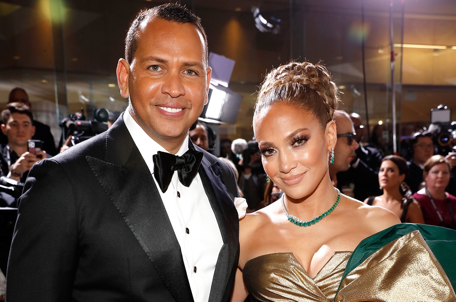 Alex Rodriguez and Jennifer Lopez arrive to the 77th Annual Golden Globe Awards held at the Beverly Hilton Hotel on Jan. 5, 2020. (Trae Patton/NBC/NBCU Photo Bank via Getty Images)