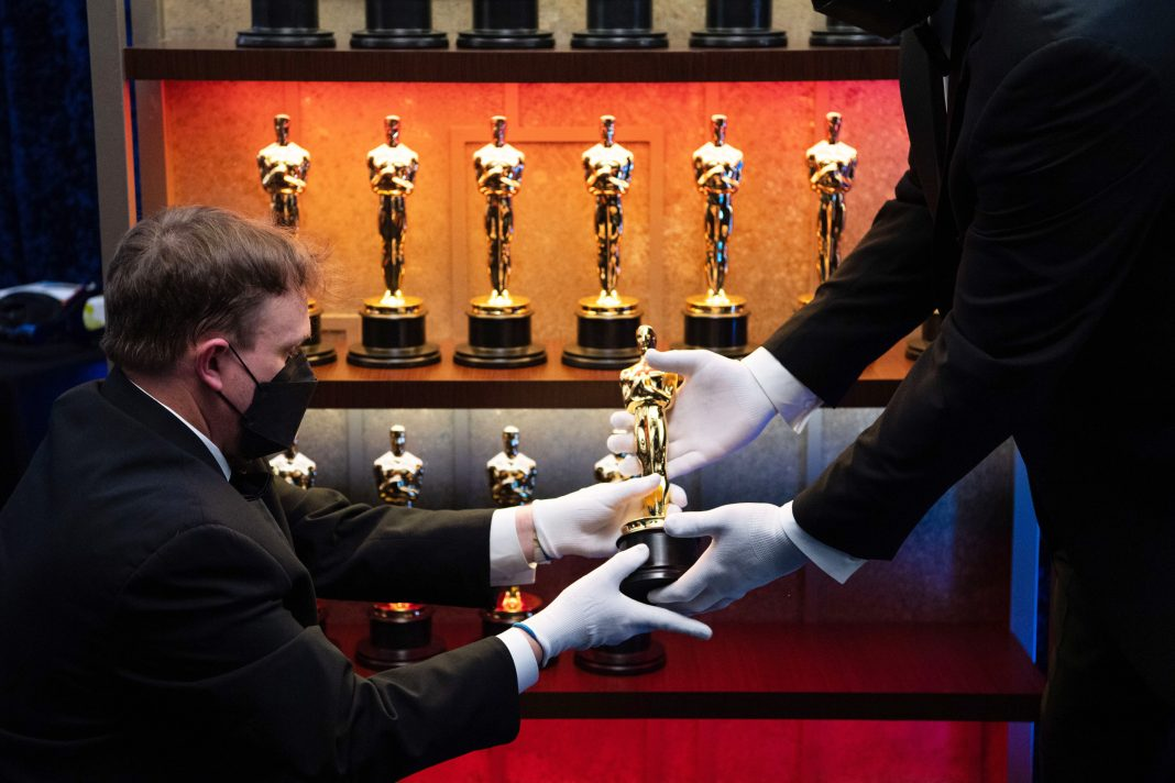 A view of the Oscar statuettes backstage during the 93rd Annual Academy Awards at Union Station on April 25, 2021 in Los Angeles, California. (Photo by Richard Harbaugh/A.M.P.A.S. via Getty Images)